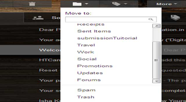How to move E-Mails to spam in G-mail