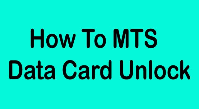 How To MTS Data Card Unlock